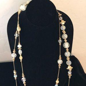 White beaded multi strand necklace